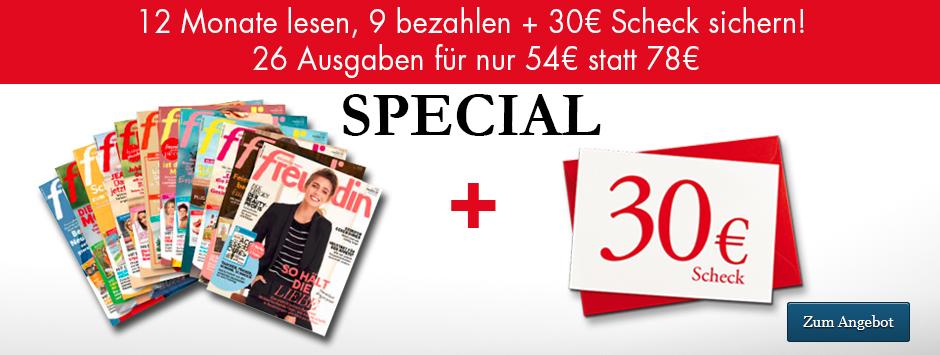 freundin Jahresabo 12 für 9 + 30 € Scheck