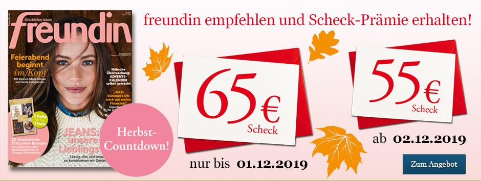 freundin Leser werben Leser Herbst-Countdown 2019 - 65 € sichern!